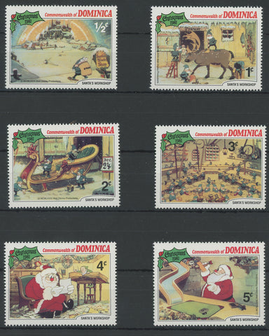 Dominica Disney Stamps Christmas Santa's Workshop Serie Set of 6 Stamps Mint NH