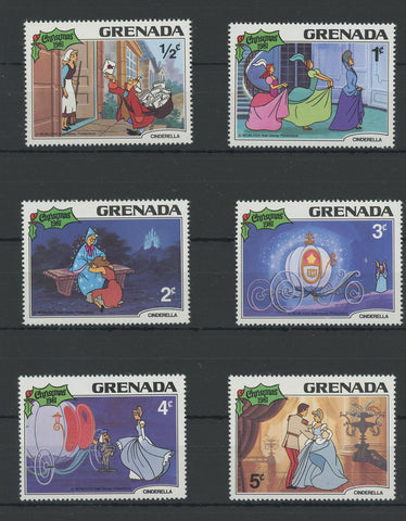 Grenada Disney Stamps Cinderella Movie Serie Set of 6 Stamps Mint NH