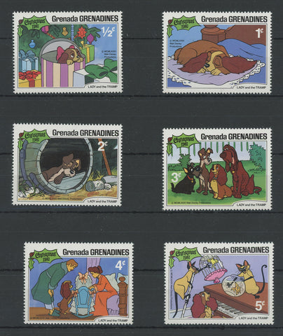 Grenada Disney Stamps Lady and The Tramp Dog Serie Set of 6 Stamps Mint NH