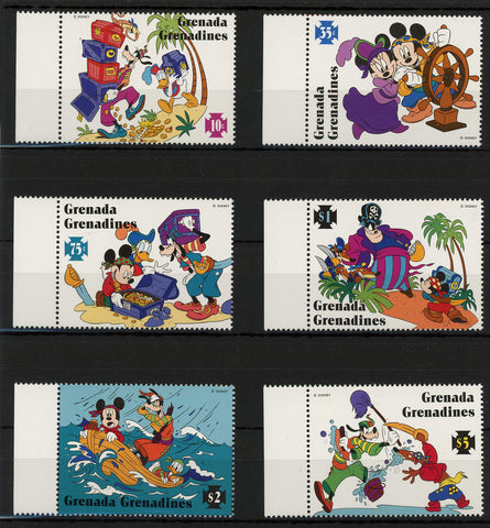 Grenada Disney Stamps Caribbean Island Pirate Serie Set of 8 Stamps Mint NH