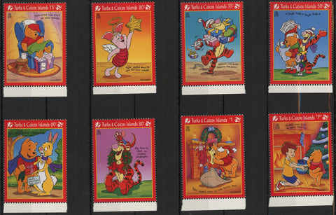 Turks and Caicos Disney Stamps Christmas Winnie the Pooh Serie Set of 8 Stamps M