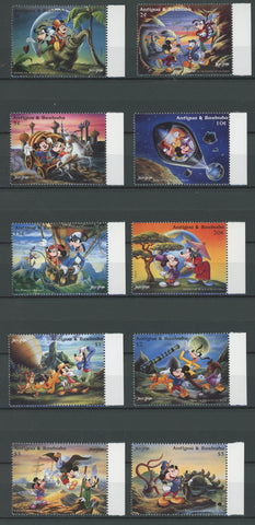 Antigua Disney Stamps Jules Verne Movies Serie Set of 10 Stamps Mint NH