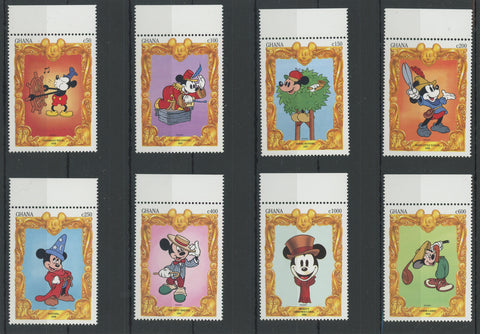 Disney Stamps Mickey Travel to Movies Serie Set of 8 Stamps Mint NH