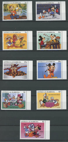 Antigua Disney Stamps Boxing, Ice cream, Dinner, Chess Serie Set of 9 Stamps Min