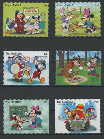 Gambia Disney Stamps Volunteer Adopt Donate Serie Set of 6 Stamps Mint NH