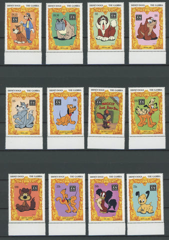Gambia Disney Stamps Dogs Serie Set of 12 Stamps Mint NH