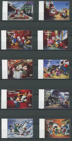 Uganda Disney Stamps Orient Express Train Serie Set of 10 Stamps Mint NH