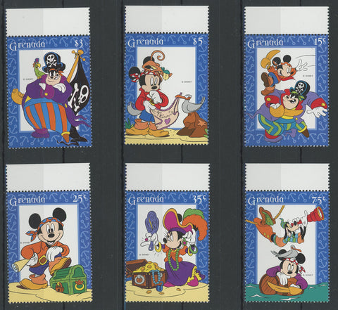 Grenada Disney Stamps Pirate Adventure Serie Set of 6 Stamps Mint NH