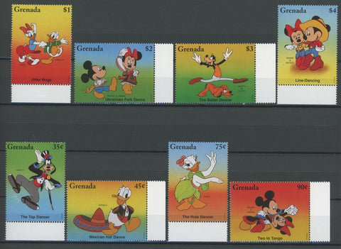 Grenada Disney Stamps Dance Dancing Music Serie Set of 8 Stamps Mint NH