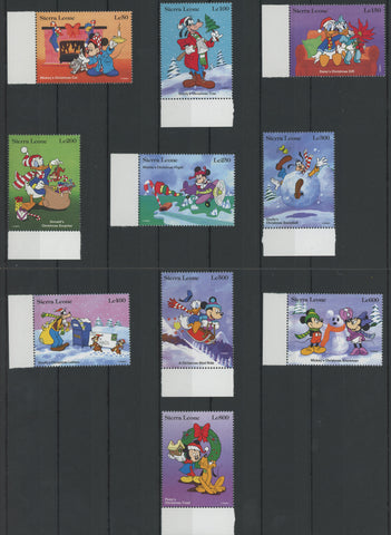 Sierra Leone Disney Stamps Christmas Celebration Snow Serie Set of 10 Stamps Min