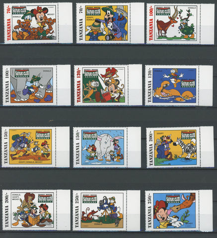 Disney Stamps Mickey Mouse's Safari Club Serie Set of 12 Stamps Mint NH
