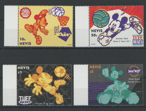 Nevis Disney Stamps Mickey Playing Sports Serie Set of 4 Stamps Mint NH
