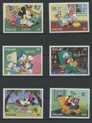 Palau Disney Stamps Reading Time Read Book Serie Set of 6 Stamps Mint NH
