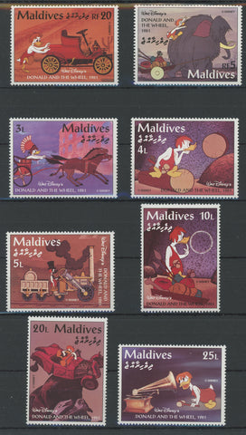 Maldives Disney Stamps Donald and the Wheel Serie Set of 8 Stamps Mint NH