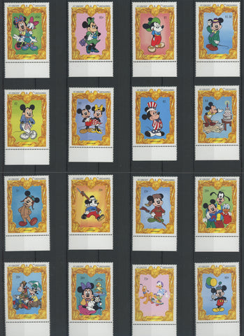 St. Vincent Disney Stamps Costume Celebration Serie Set of 16 Stamps Mint NH