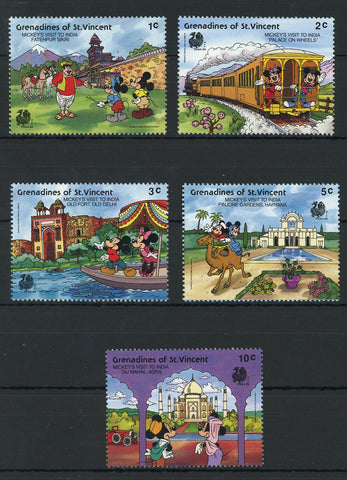 St. Vincent Disney Stamps Mickey's visit to India Serie Set of 5 Stamps Mint NH