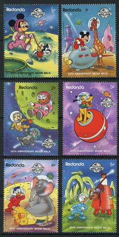 Redonda Disney Stamps Moonwalk Space Planet Serie Set of 6 Stamps Mint NH