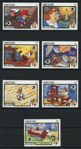 Grenada Disney Stamps Ben and Me Mouse Movie Serie Set of 7 Stamps Mint NH