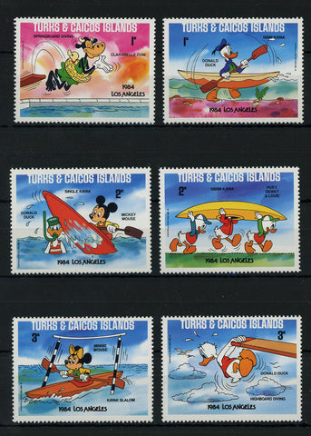 Turks and Caicos Disney Stamps 1984 Los Angeles Water Serie Set of 6 Stamps Mint