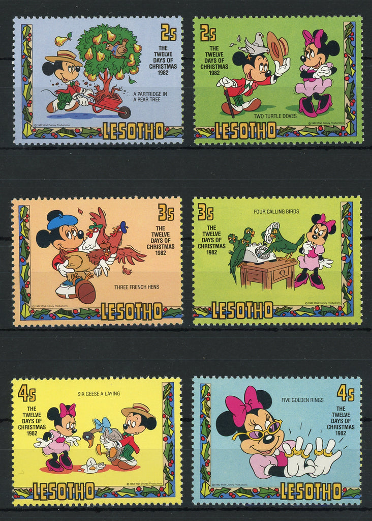 Disney 12 Days Of Christmas.Lesotho Disney Stamps The Twelve Days Of Christmas Serie Set Of 6 Stamps Mint Nh