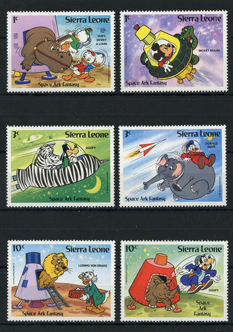 Sierra Leone Disney Stamps Spaceship Planet Astronaut Serie Set of 6 Stamps Mint