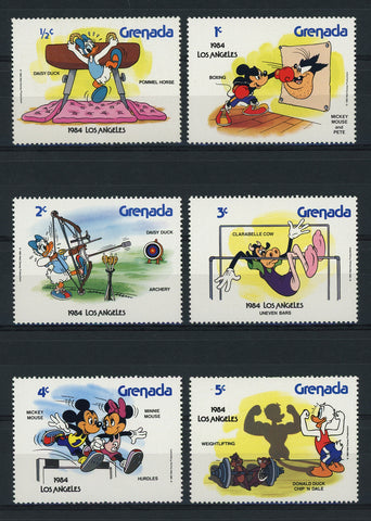 Grenada Disney Stamps Olympic Sport Los Angeles 1984 Serie Set of 6 Stamps Mint