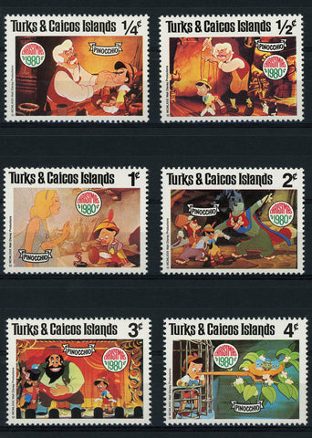 Turks and Caicos Disney Stamps Pinocchio Christmas Serie Set of 6 Stamps Mint NH