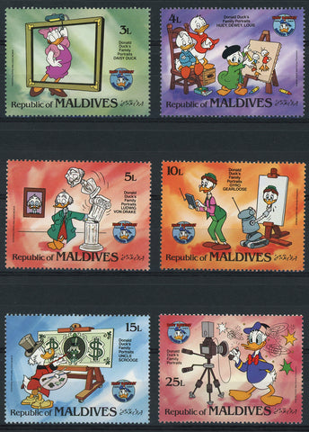 Maldives Disney Stamps Donald's Duck Family Portrait Serie Set of 6 Stamps Mint