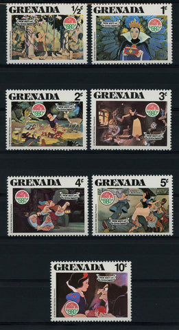 Grenada Disney Stamps Snow White Christmas Serie Set of 7 Stamps Mint NH
