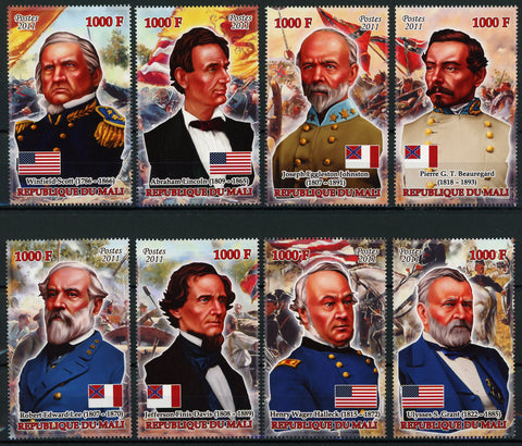 USA Civil War Historical Figures South North Serie Set of 8 Stamps Mint NH