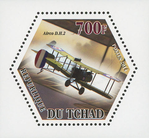 World War I Airplane Plane Airco D.H.2 Mini Souvenir Sheet Mint NH