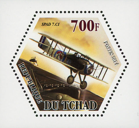 World War I Airplane Plane SPAD 7.C1 Mini Souvenir Sheet Mint NH