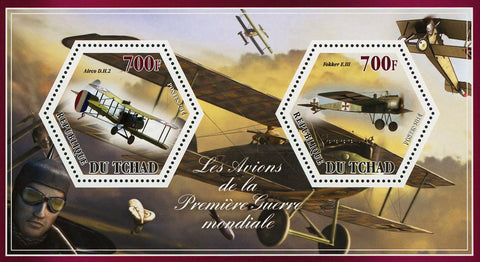 World War I Airplane Plane Airco Fokker Souvenir Sheet Mint NH