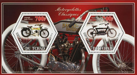 Classic Motorcycle Triumph Pierre Four Souvenir Sheet of 2 Stamps Mint NH