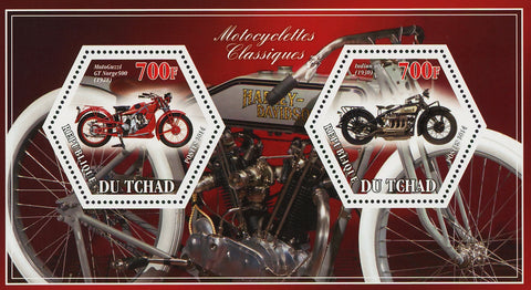 Classic Motorcycle MotoGuzzi Indian 402 Souvenir Sheet of 2 Stamps Mint NH