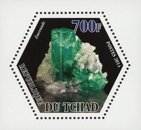 Mineral Emeraude Crystal Mini Souvenir Sheet Mint NH