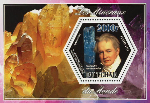 Mineral Aquamarine Crystal Souvenir Sheet Mint NH