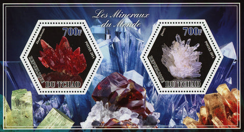 Mineral Rodochrosite Quartz Crystal Sov. Sheet of 2 Stamps Mint NH