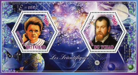 Scientific Famous Marie Curie Galileo Souvenir Sheet of 2 Stamps Mint NH