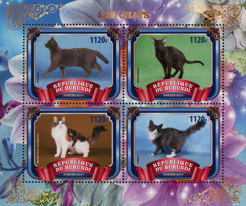 Cat Domestic Animal Flower Souvenir Sheet of 4 Stamps Mint NH