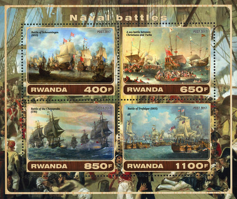 Naval Battle Maritime Souvenir Sheet of 4 Stamps Mint NH
