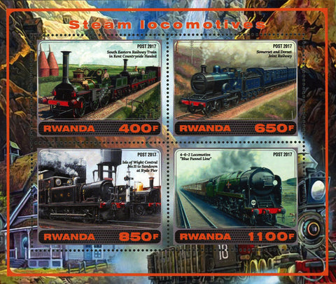 Steam Locomotive Mountain Souvenir Sheet of 4 Stamps Mint NH