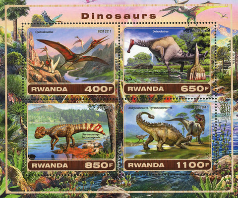 Dinosaur Deinocheirus Pre Historic Animal Souvenir Sheet of 4 Stamps Mint NH