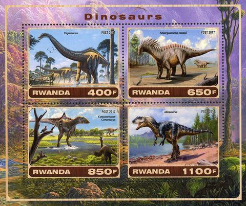 Dinosaur Diplodocus Pre Historic Animal Nature Souvenir Sheet of 4 Stamps Mint NH