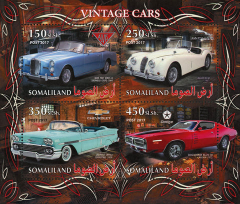 Vintage Car Jaguar XX140 Transportation Souvenir Sheet of 4 Stamps Mint NH