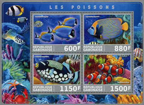 Gabon Fish Ocean Life Marine Fauna Souvenir Sheet of 4 Stamps Mint NH