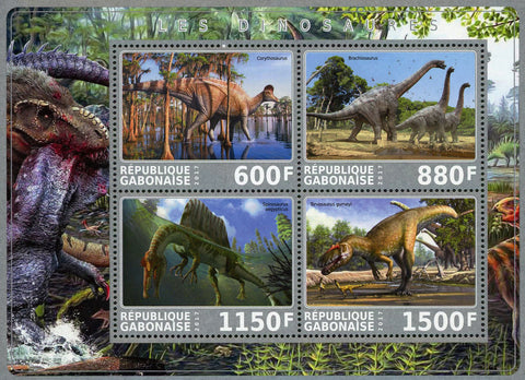 Dinosaur Pre Historic Animal Souvenir Sheet of 4 Stamps Mint NH