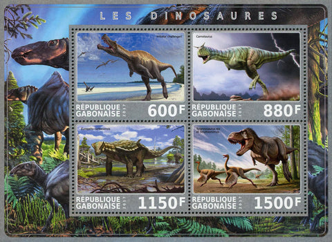 Dinosaur Pre Historic Animal Reptile Souvenir Sheet of 4 Stamps Mint NH