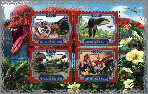 Dinosaur Pre Historic Animal Nature Souvenir Sheet of 4 Stamps Mint NH
