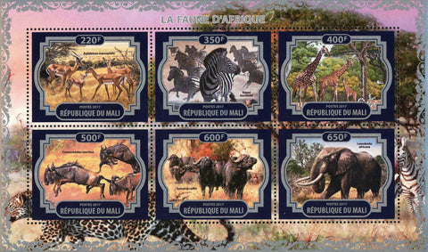 African Fauna Wild Animal Souvenir Sheet of 6 Stamps Mint NH